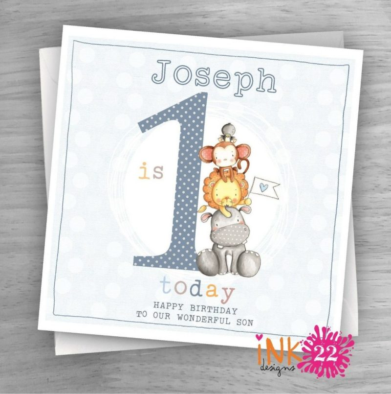 personalised handmade card ba 1st first birthday son grandson nephew cute