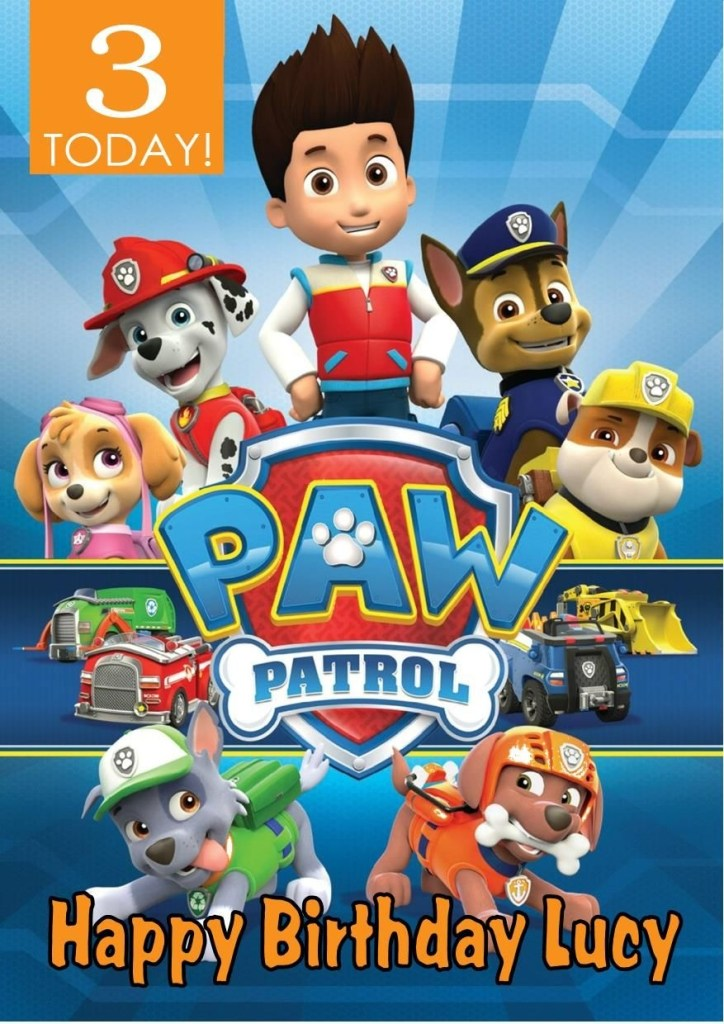 personalised paw patrol birthday card