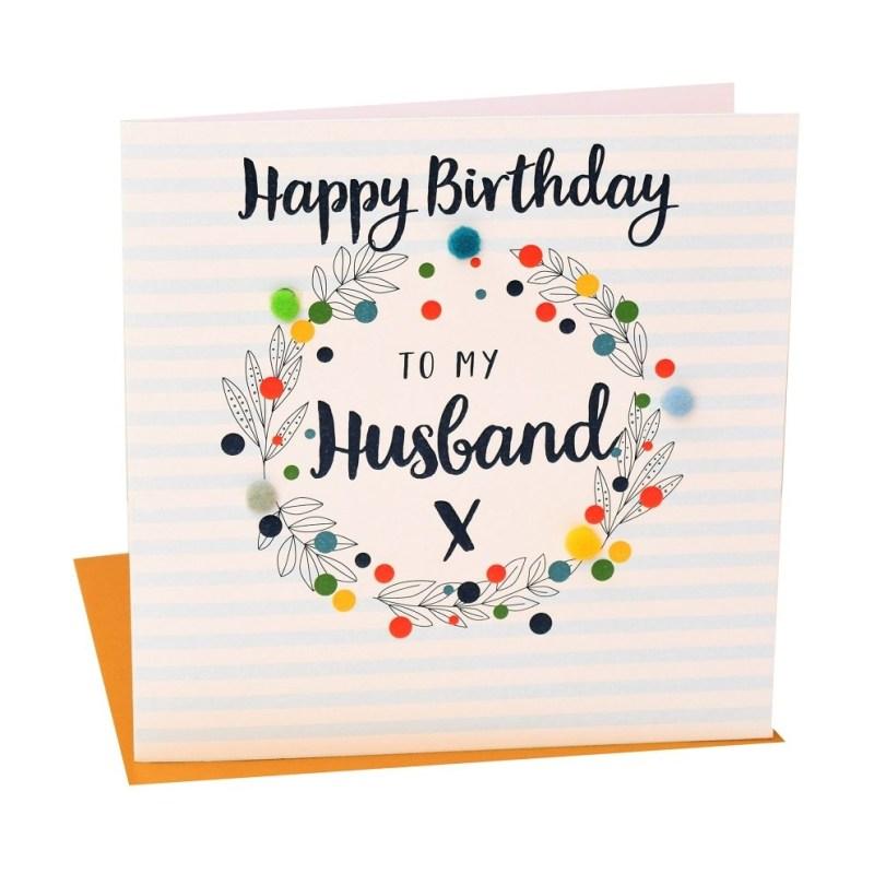 pom pom pom023 happy birthday to my husband greeting card