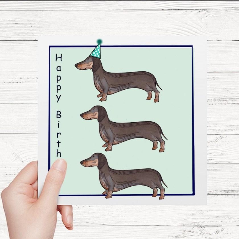sausage dog birthday card sausage dog card dachshund birthday card occasion celebration greetings card fun dog card birthday gift