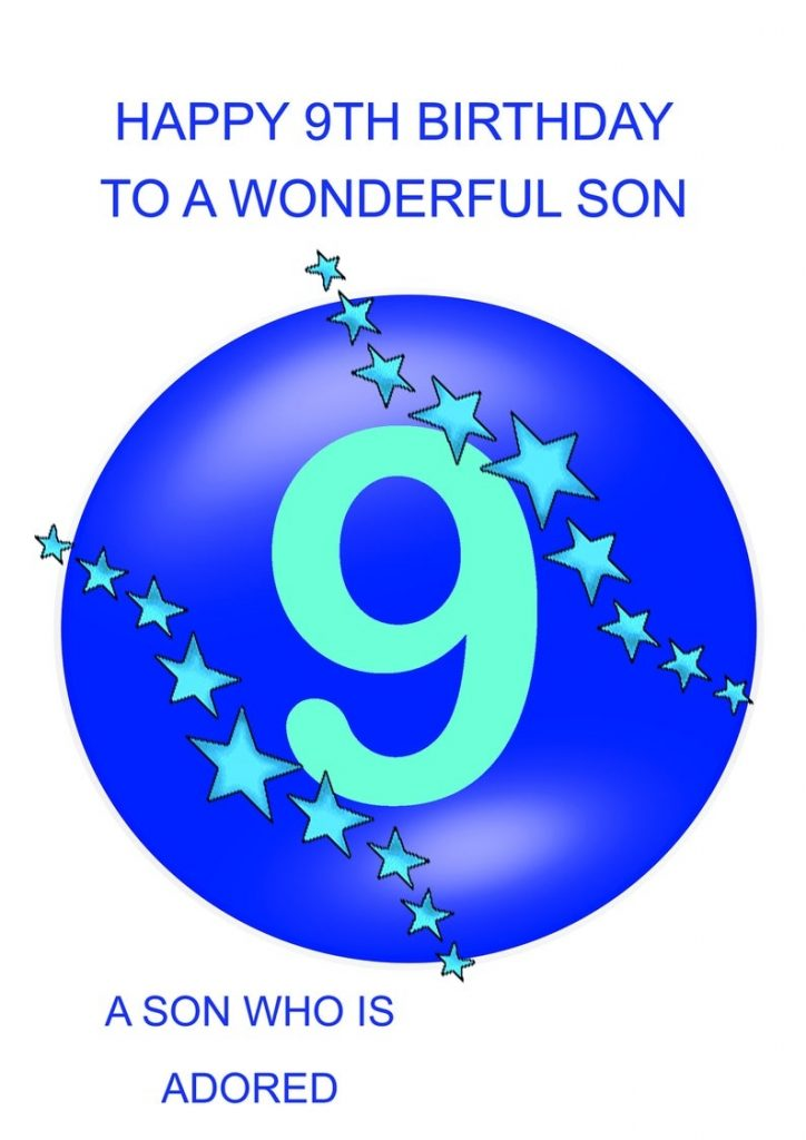 son 9th birthday card