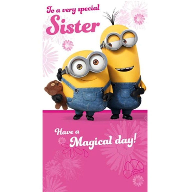 special sister minions birthday card