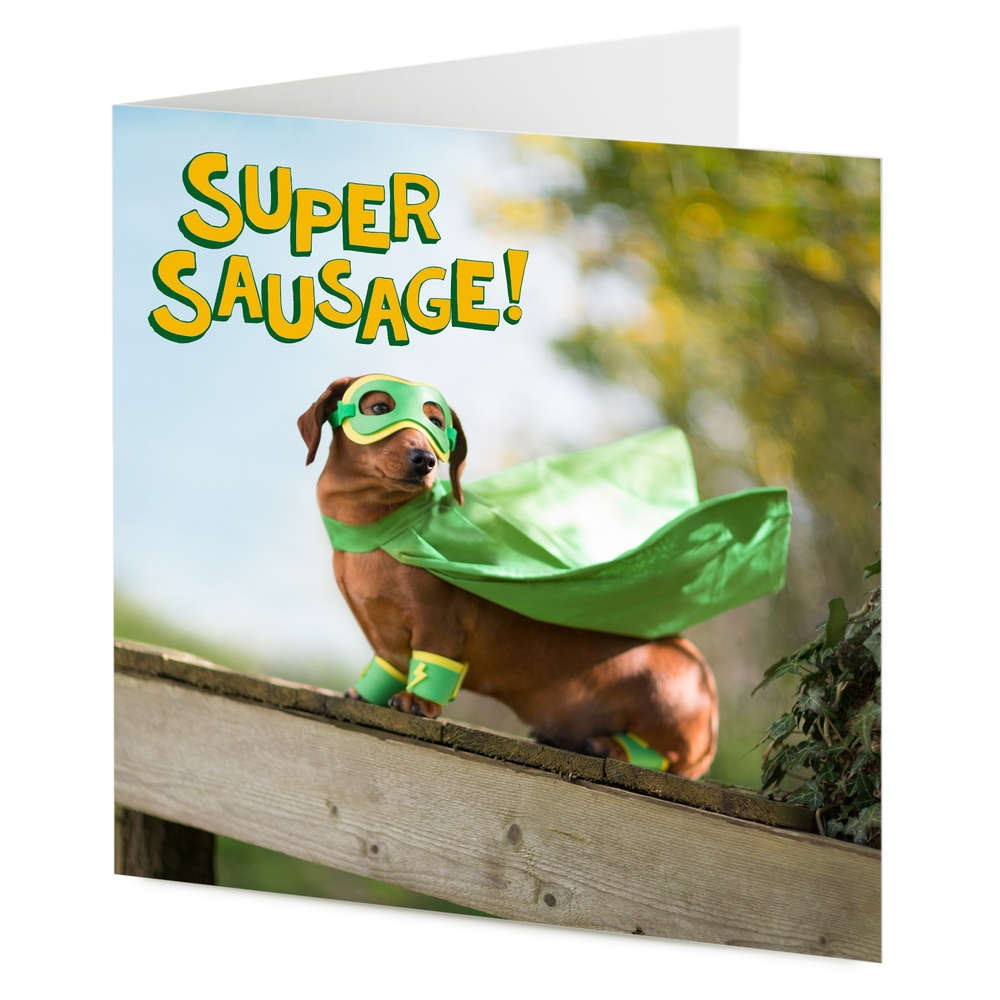 super sausage superhero dachshund sausage dog birthday general card