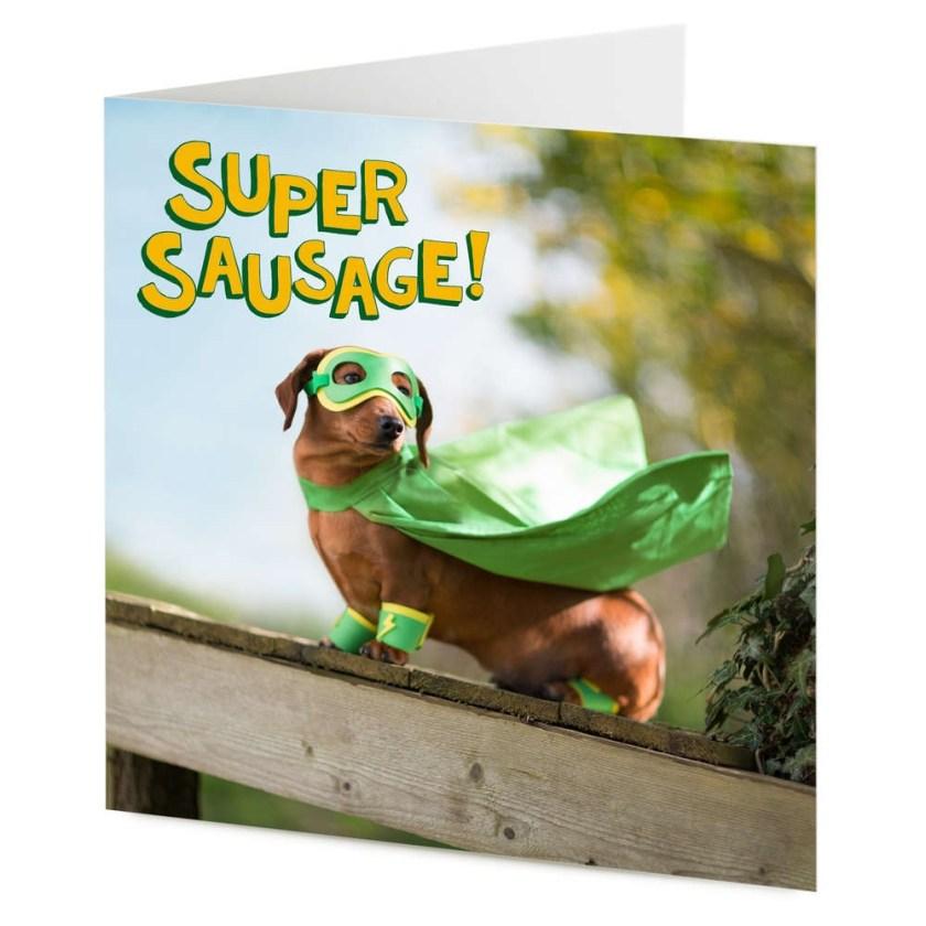 super sausage superhero dachshund sausage dog birthday general card