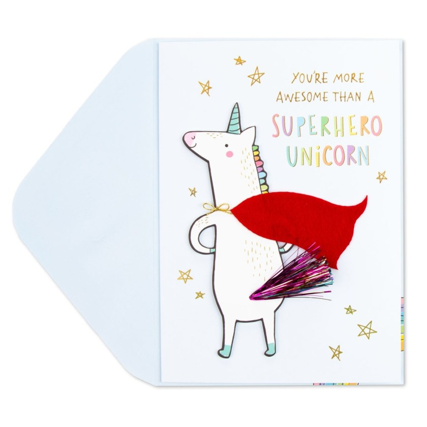 superhero unicorn birthday card