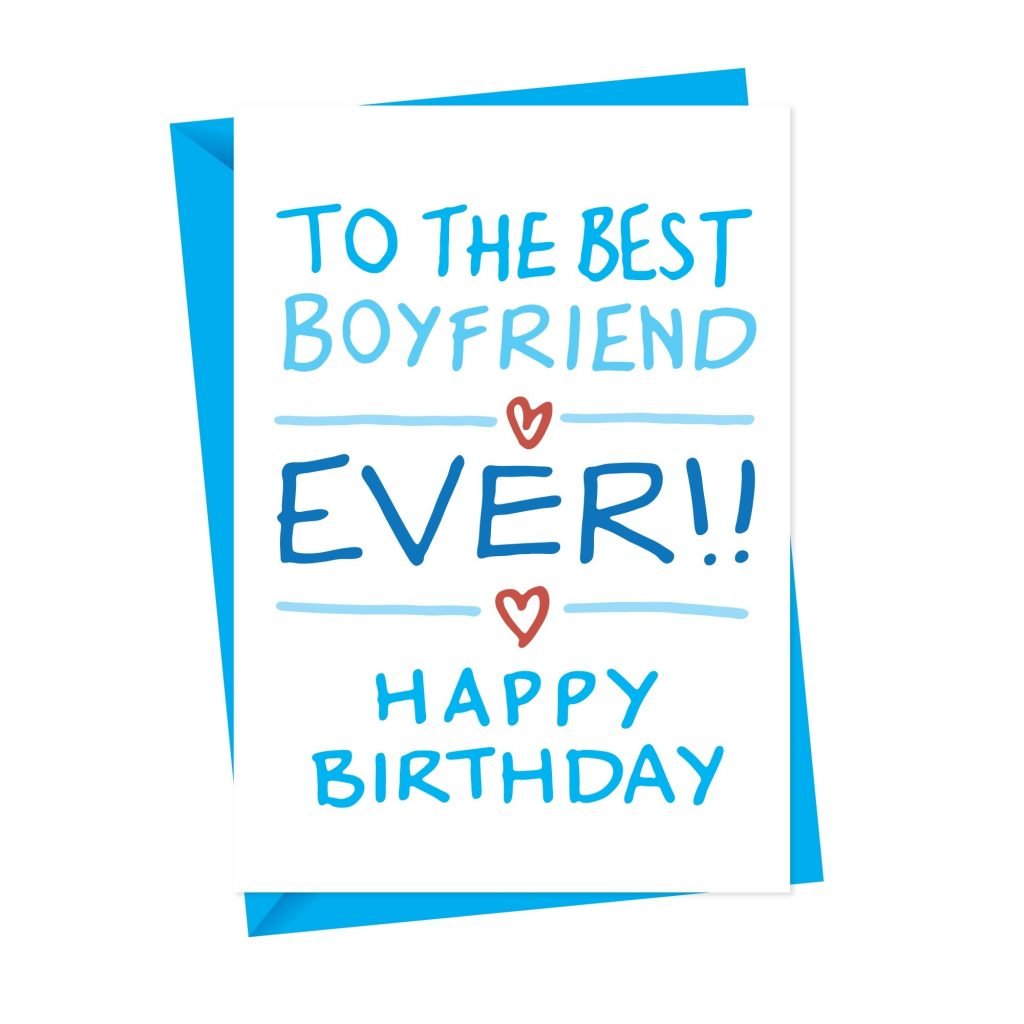 the best boyfriend handdrawn birthday card