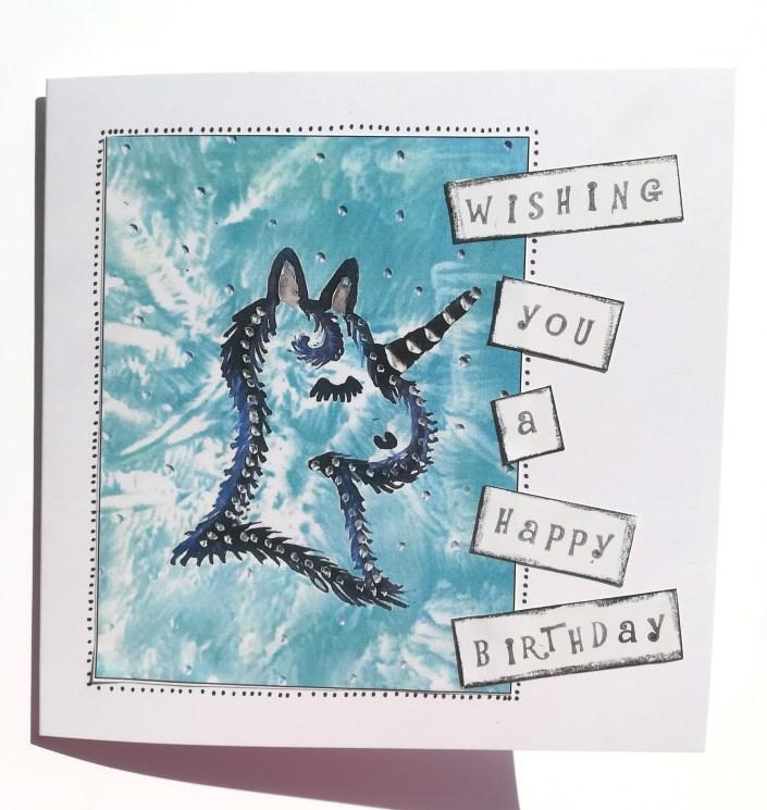unicorn birthday card handmade 100thousand