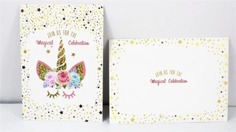 unicorn invitation party card cartoon unicorn theme party paper invitation card kids happy birthday party supplies decoration favors greet cards