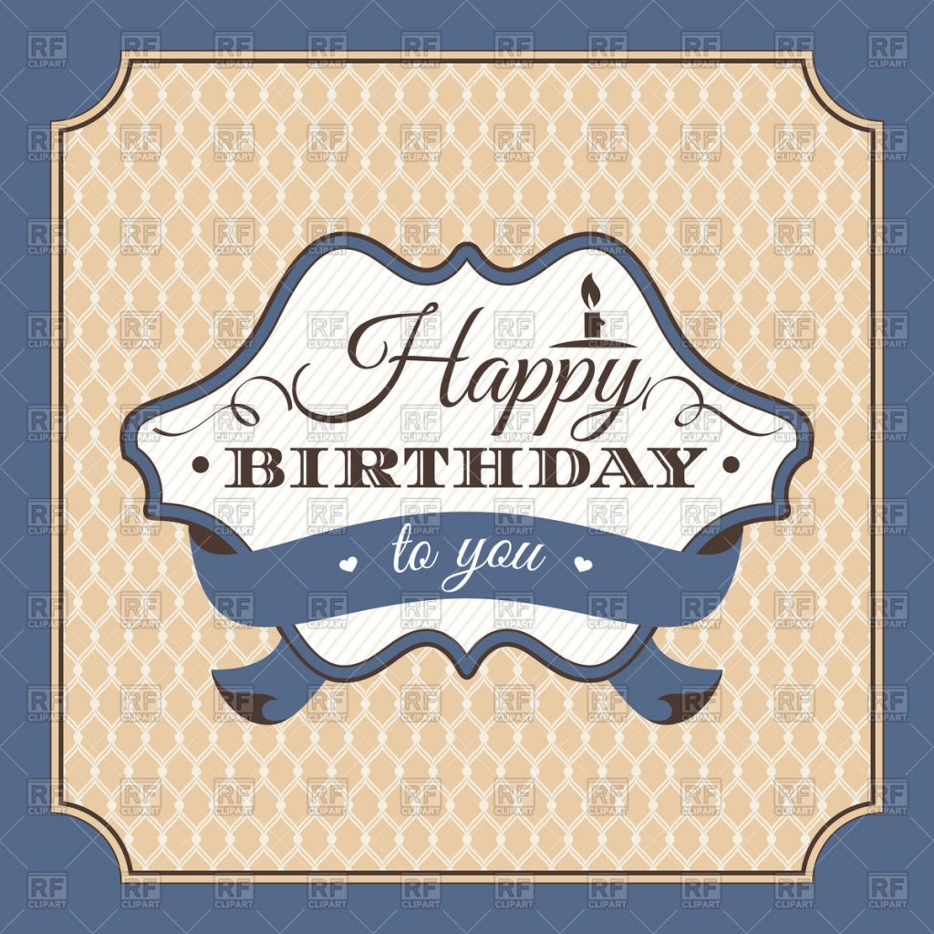 vintage birthday card with luxurious ornament stock vector image