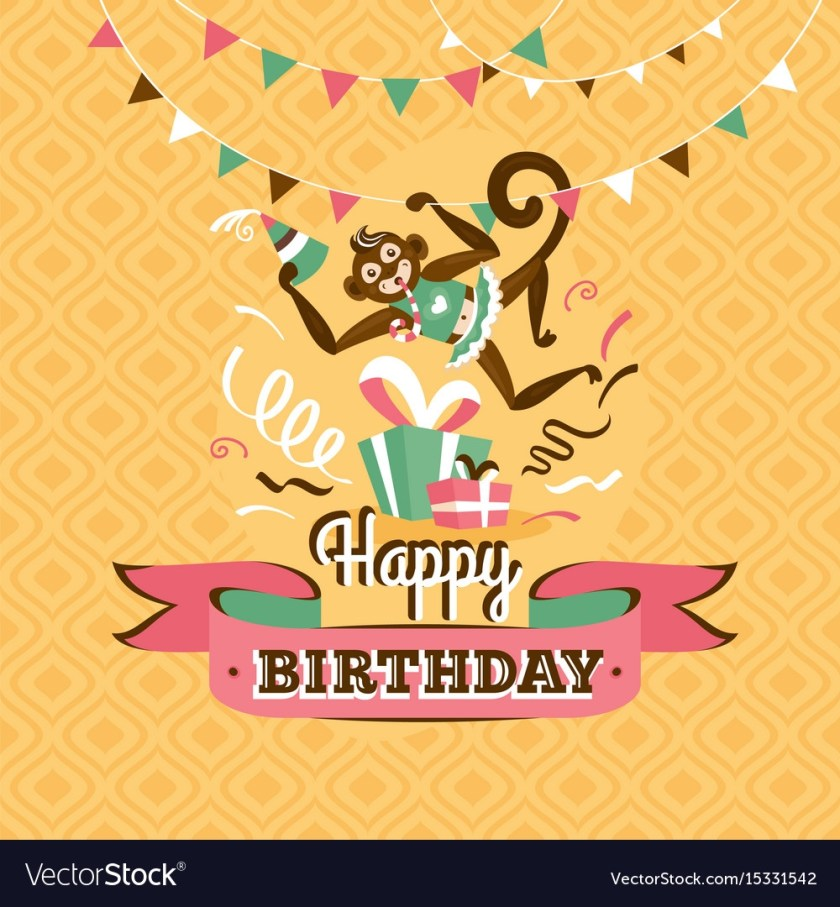 vintage birthday greeting card with a monkey