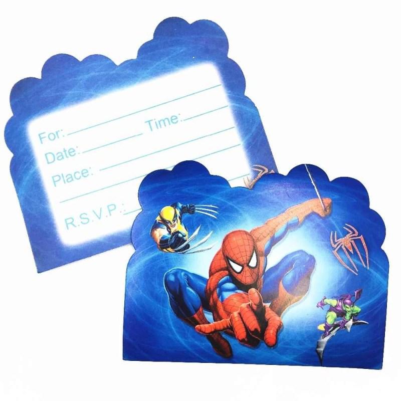 10pcsset spiderman theme invitation card birthday decor