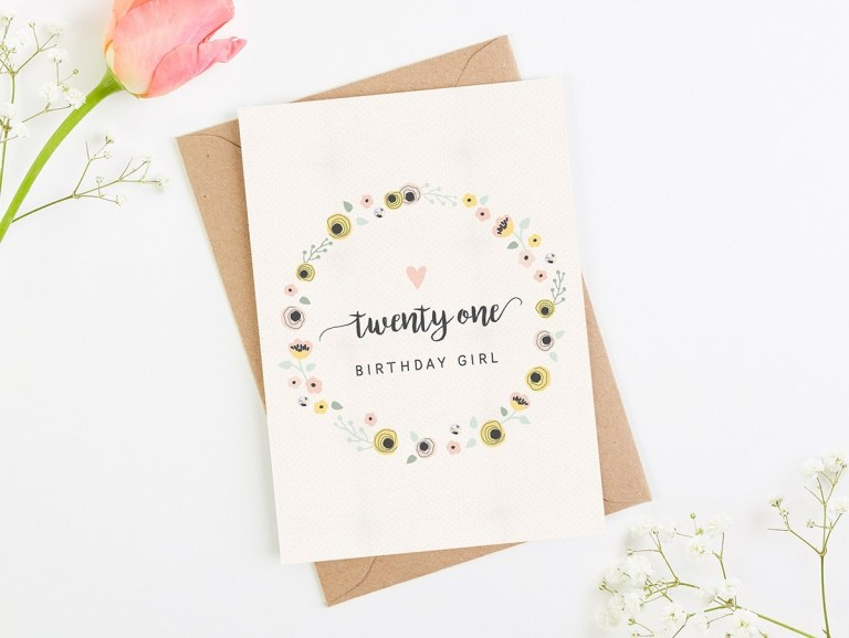 21st birthday card blush floral