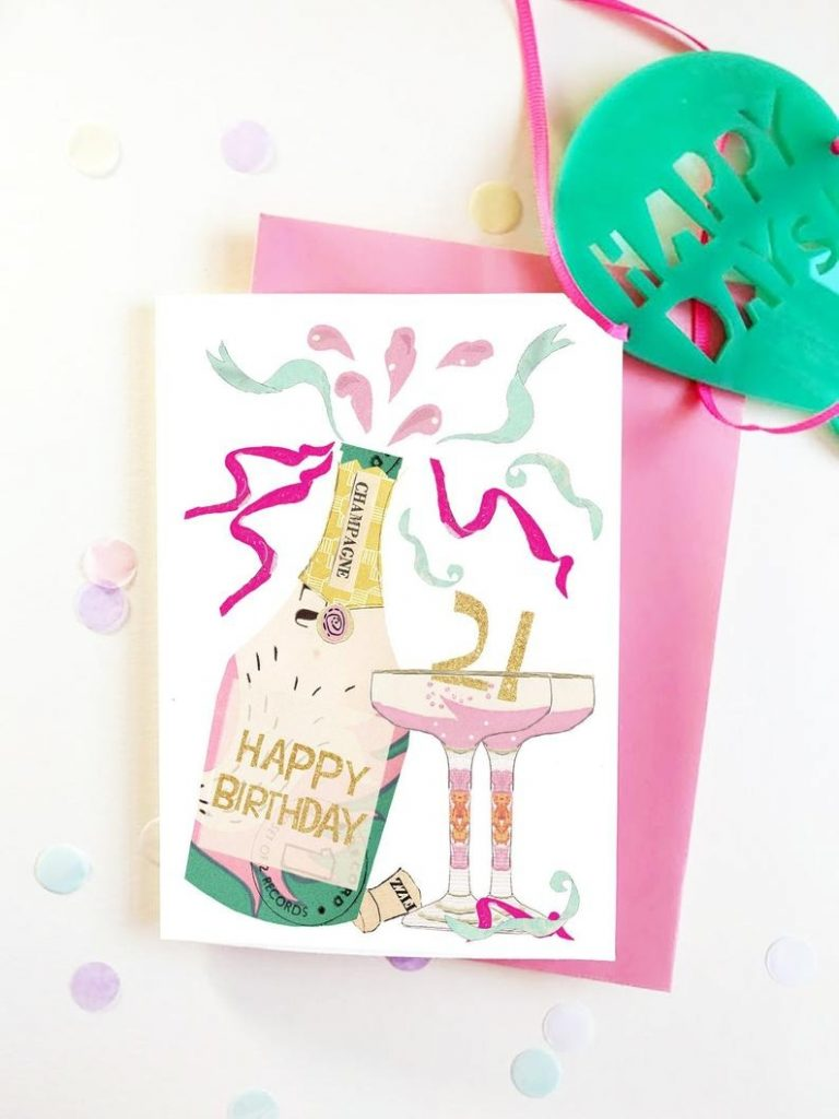 21st birthday card pink and gold champagne bottle