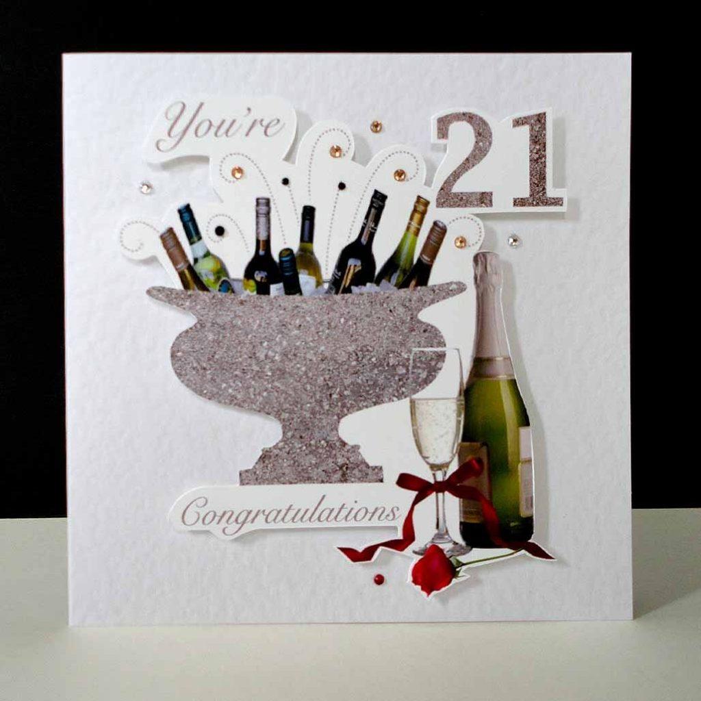 celebration bottles red rose 21st birthday card