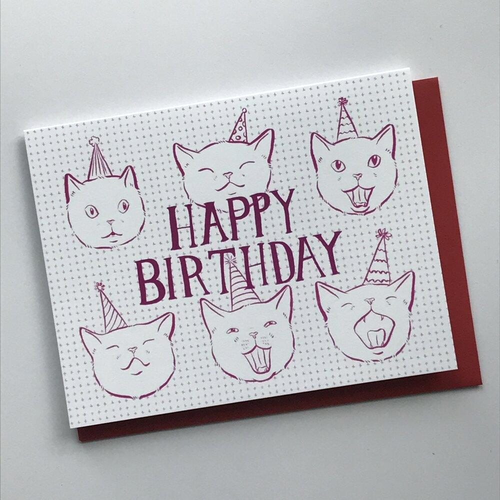 party hat cat birthday card half mile handmade
