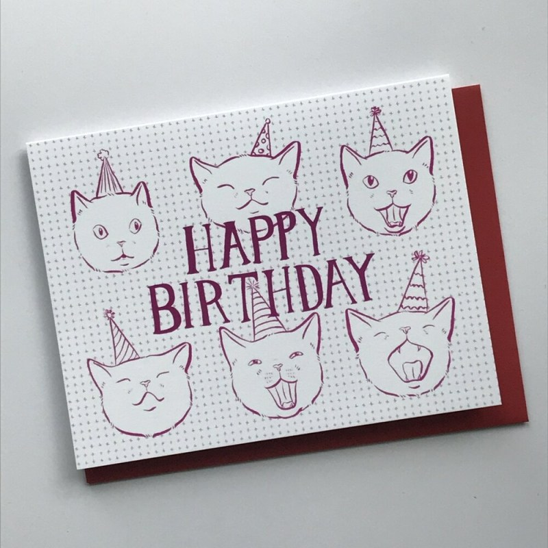 party hat cat birthday card half mile handmade