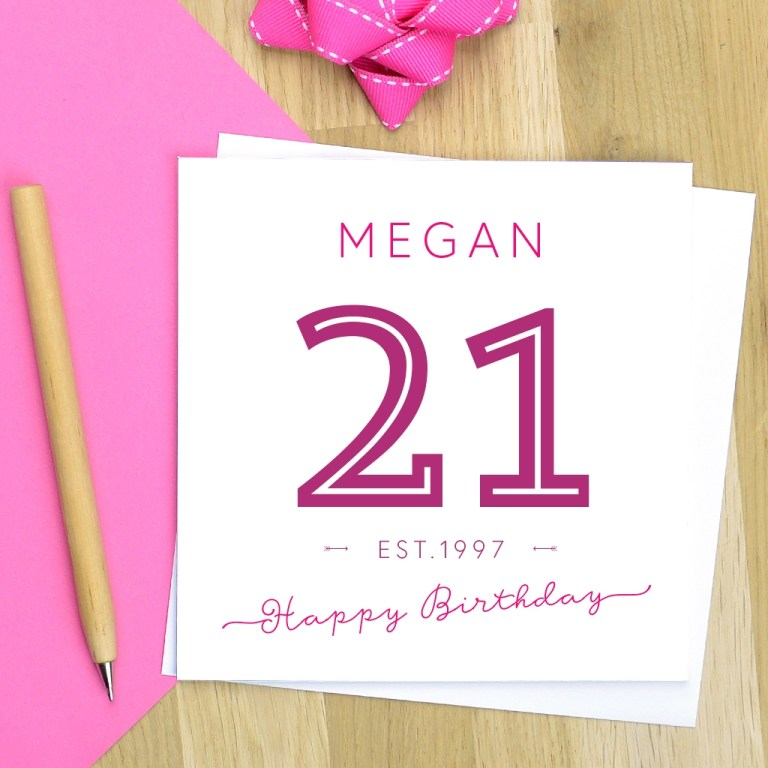 personalised established in 21st birthday card