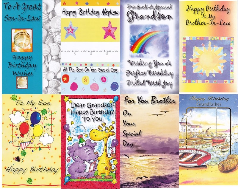 120 assorted male family birthday cards 165 cents per card