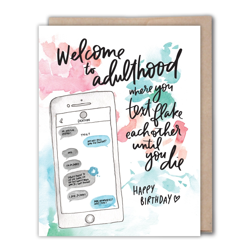 adulthood text birthday card fiber dye oddly specific greeting cards for bffs