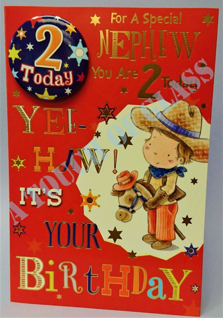 badge birthday card 2 year old nephew