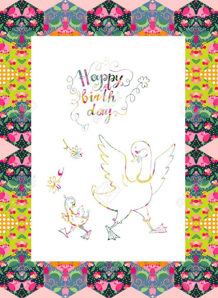 beautiful happy birthday card mother goose with her little child