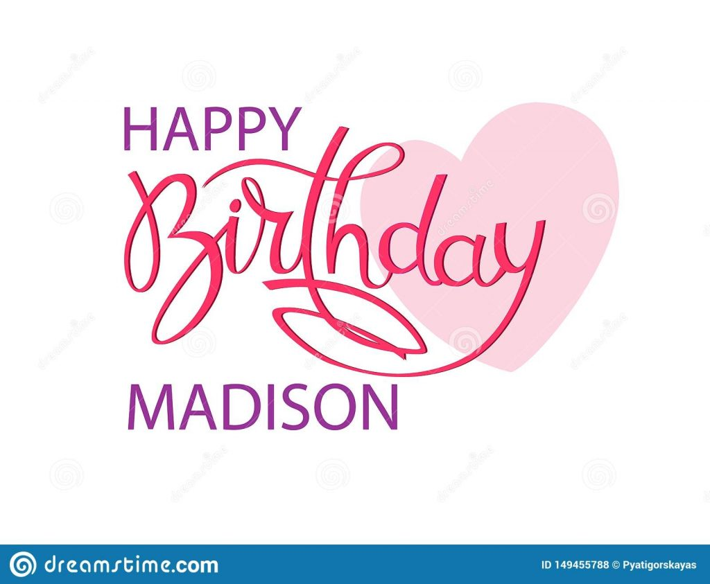 birthday greeting card with the name madison elegant hand
