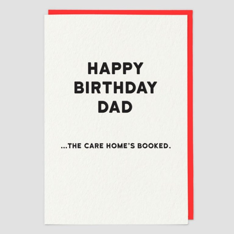 care homes booked funny birthday card for dad creased cards