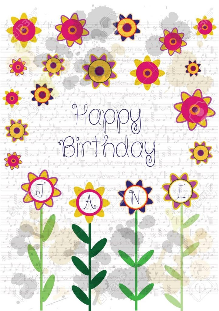 colorful happy birthday card with flowers and name jane