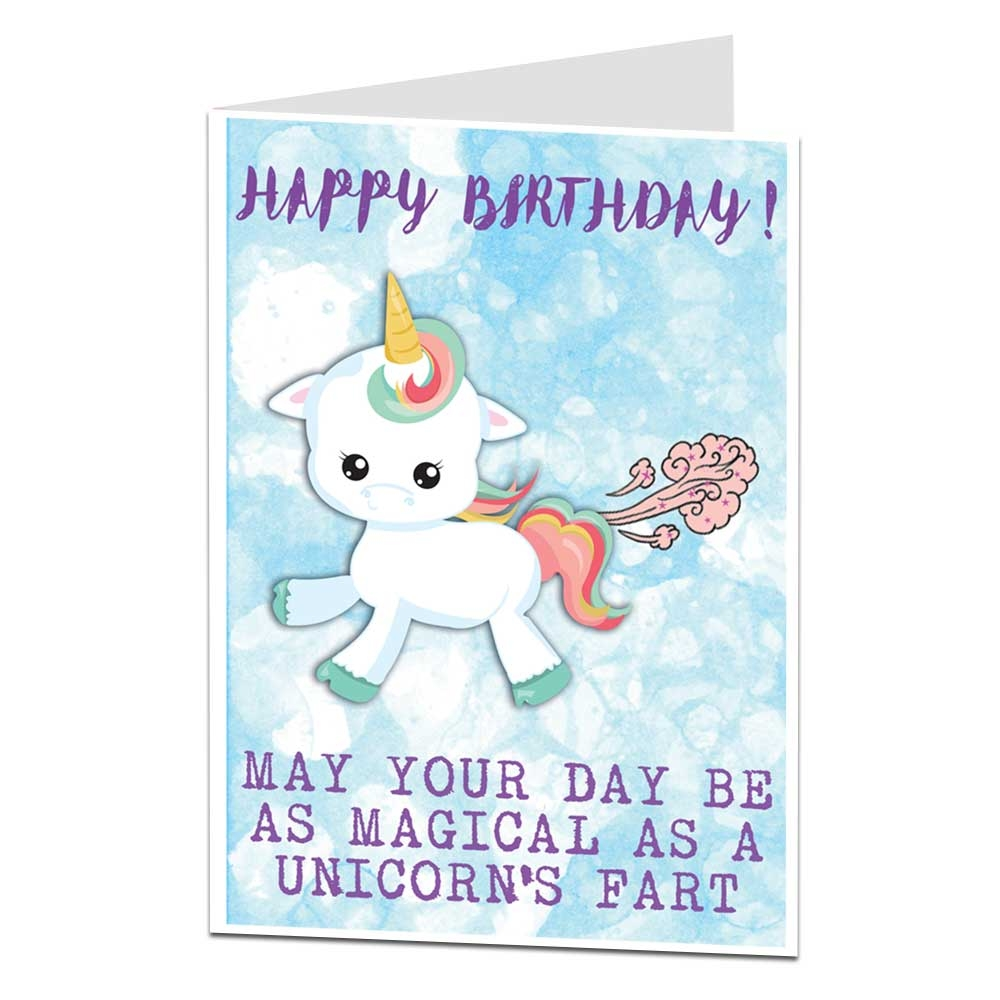 details about unicorn happy birthday card funny farts theme gift things ideas for her