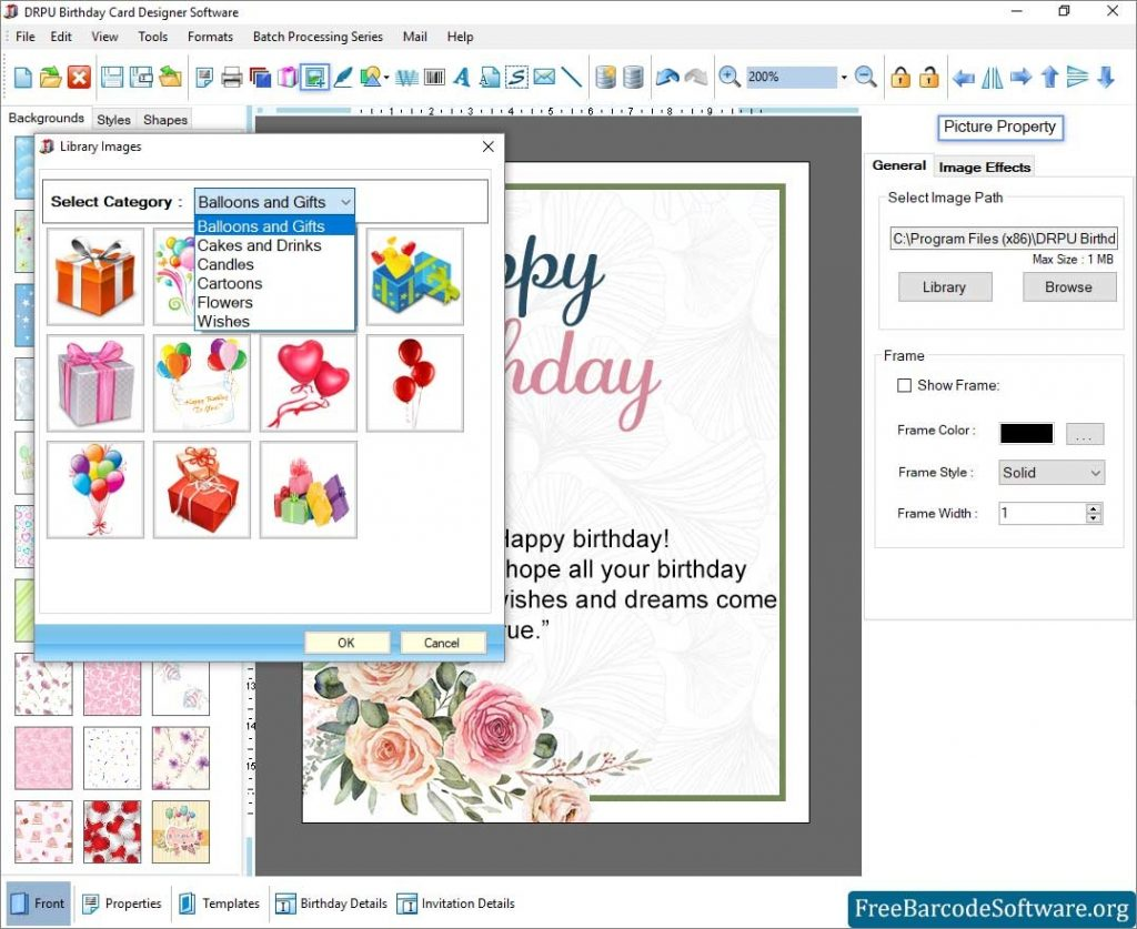 easily creates various birthday cards for your friends and