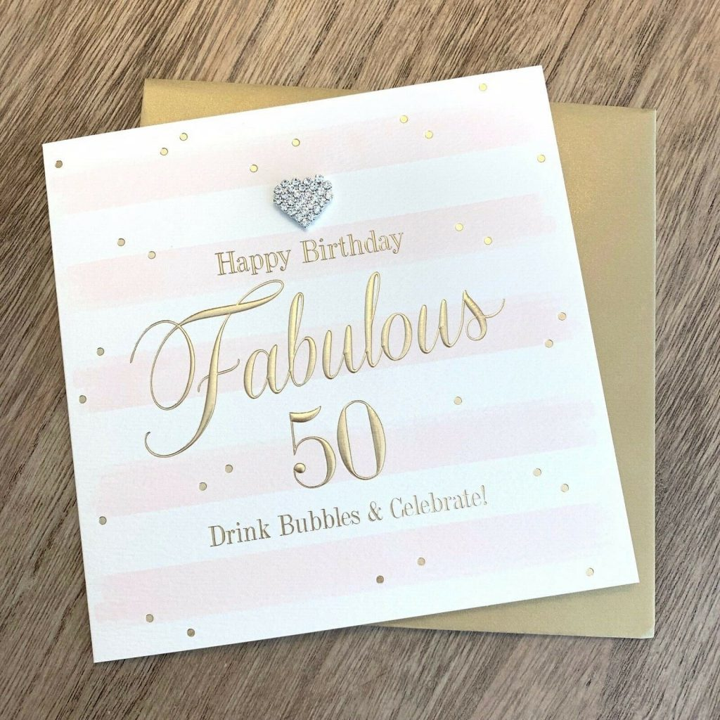 gorgeous luxury happy 50th birthday card with diamante heart embellishment