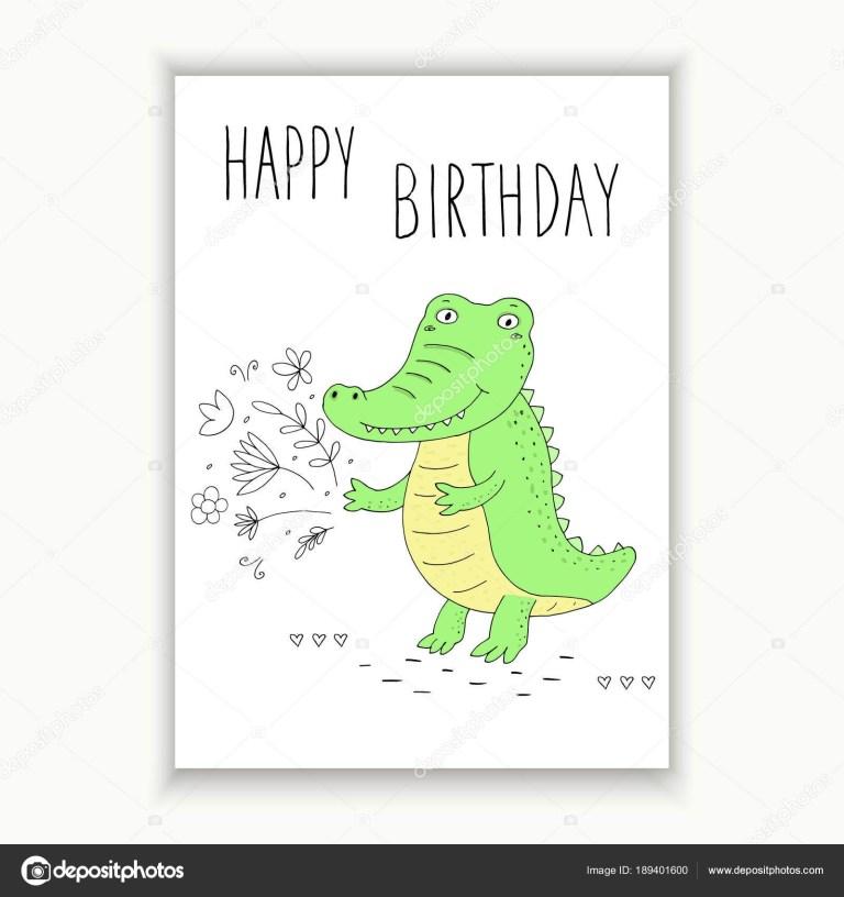 happy birthday card with funny cute crocodile cartoon style