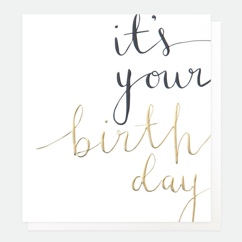 its your birthday calligraphy text card