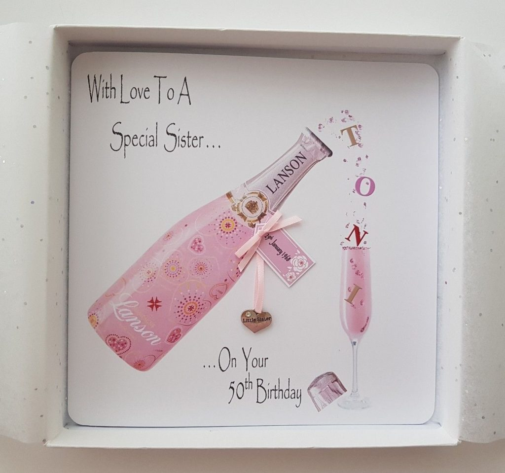 personalised 50th birthday card champagne sister any relation any age any tipple