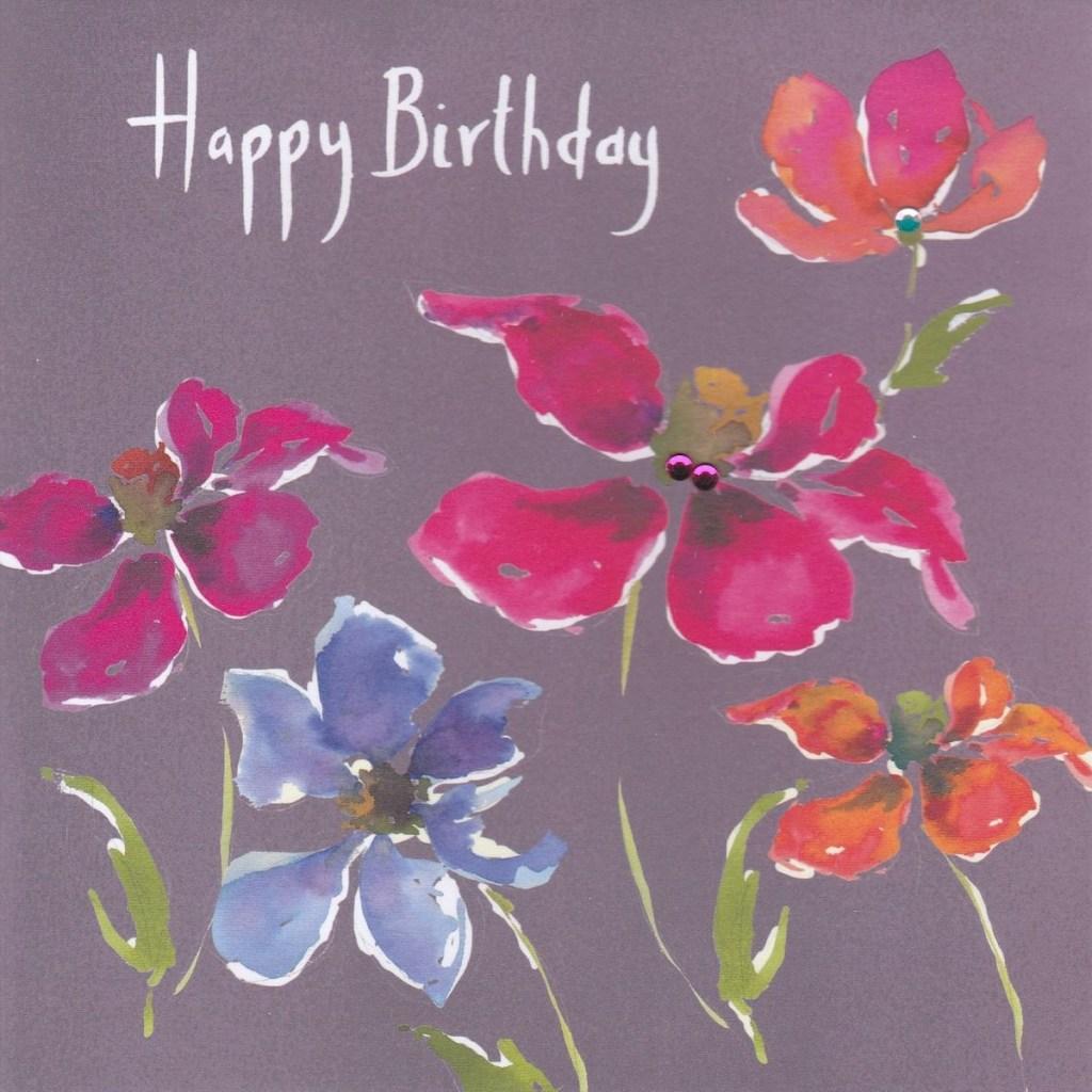 pink blue flowers birthday card