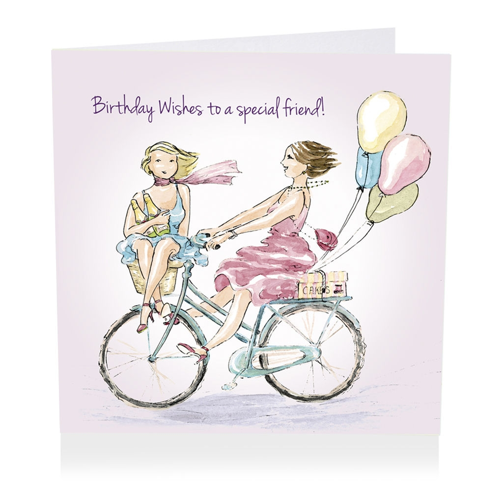 special friend bicycle happy birthday wishes card