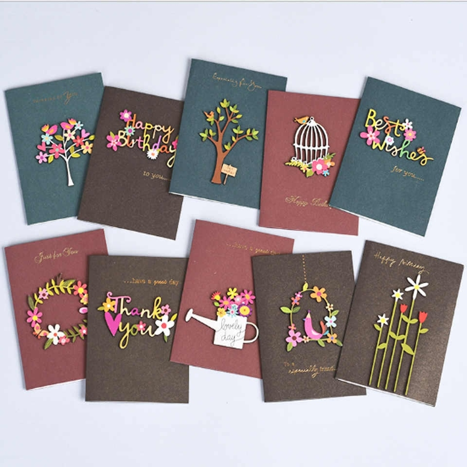 1pcs handmade thank you card cute happy birthday greeting cards with wooden decoration sweet greeting