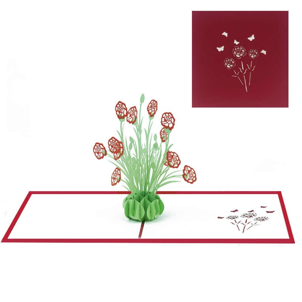 2020 new greeting card 3d carnation flower mothers day mom birthday gifts cards handmade floral carved crafts decoration