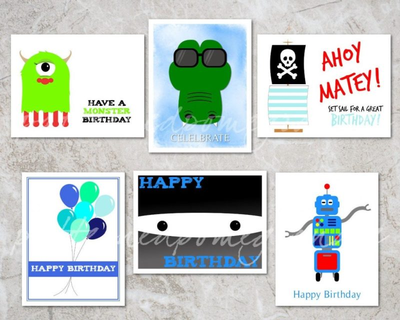 6 printable birthday cards for boys assorted kids birthday card set printable gift tags ninja robot crocodile pirate monster