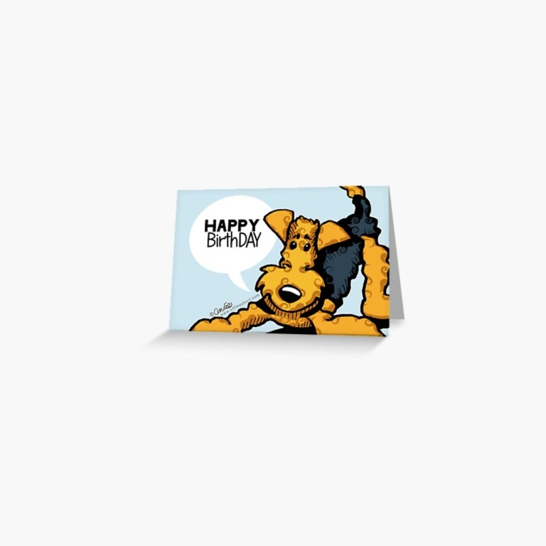 airedale terrier funny happy birthday cards grukarte