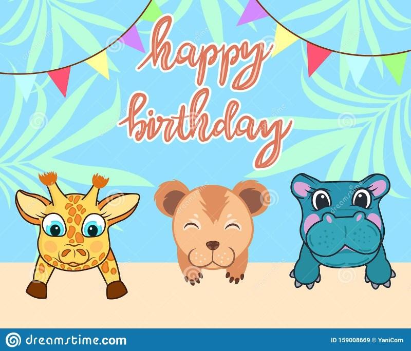 ba animals birthday card cute birthday greeting card with