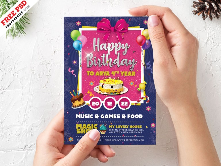 birthday card invitation template psd uxfree