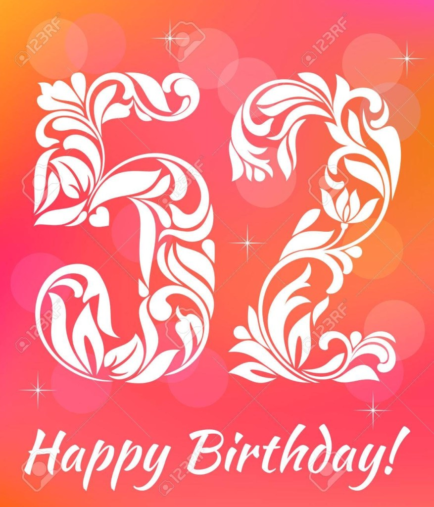 bright greeting card template celebrating 52 years birthday