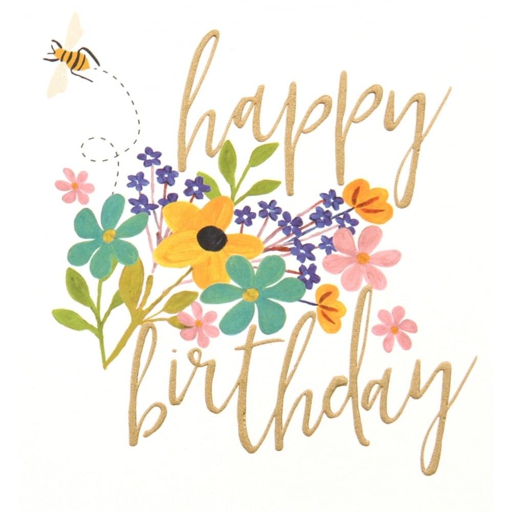 caroline gardner happy birthday flower bee card