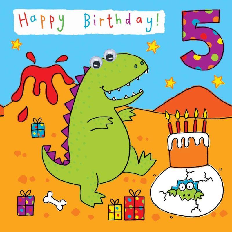 childrens birthday card age 5 dinosaur