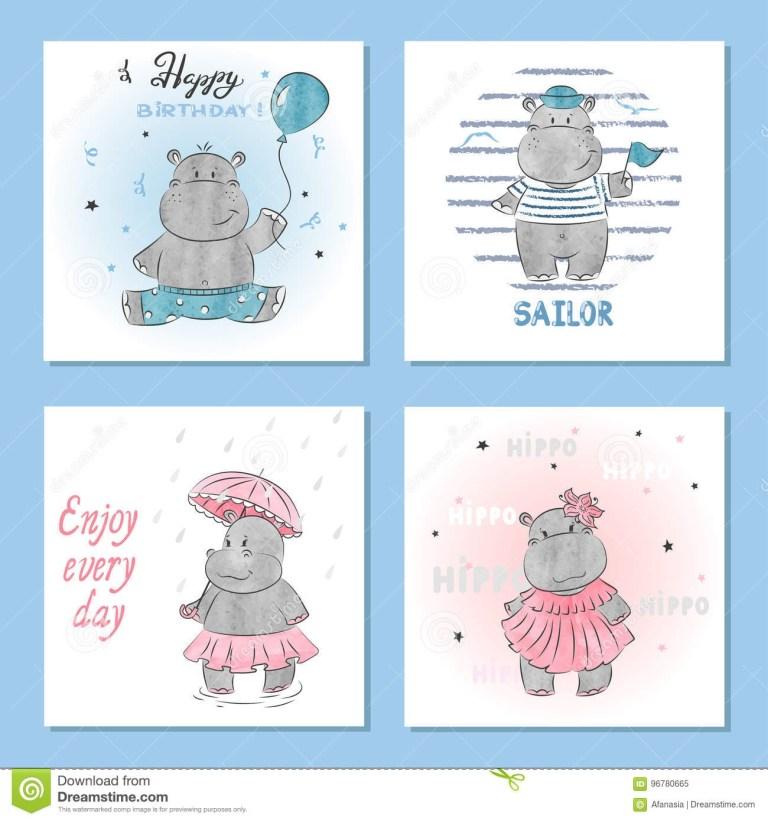 cute hippo vector illustrations set of birthday greeting