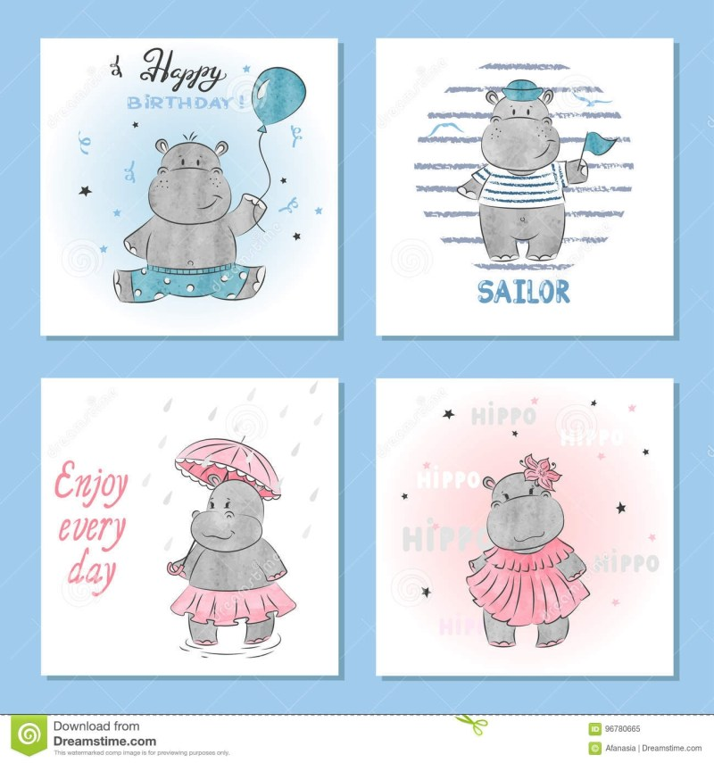 cute hippo vector illustrations set of birthday greeting