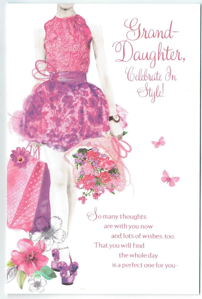 details about granddaughter birthday card embossed elegant with sentiment verse