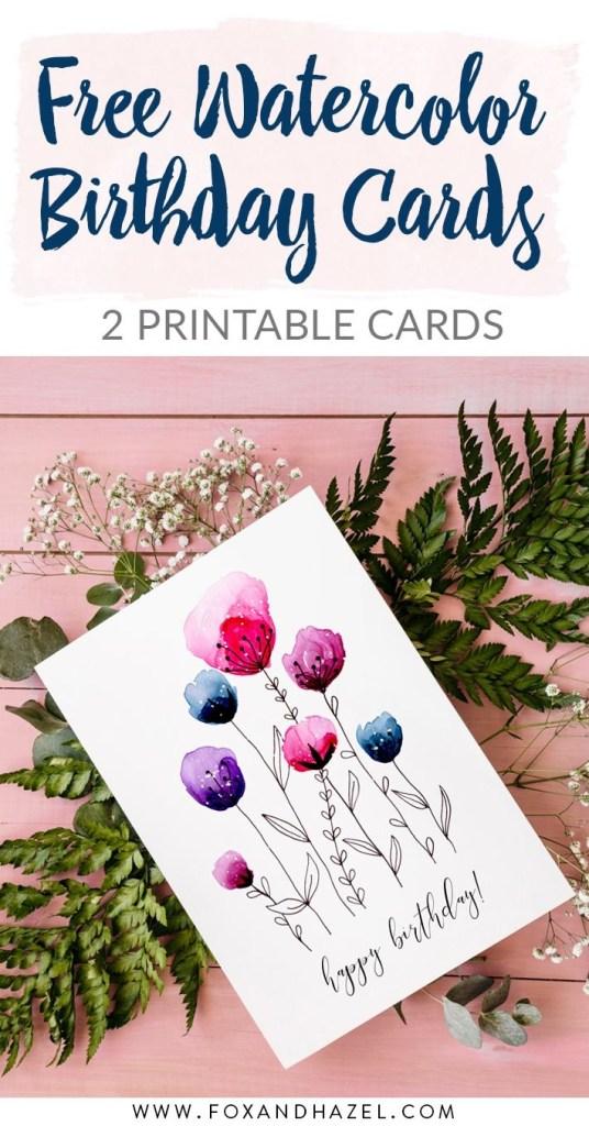 free printable watercolor birthday cards fdselsdagskort
