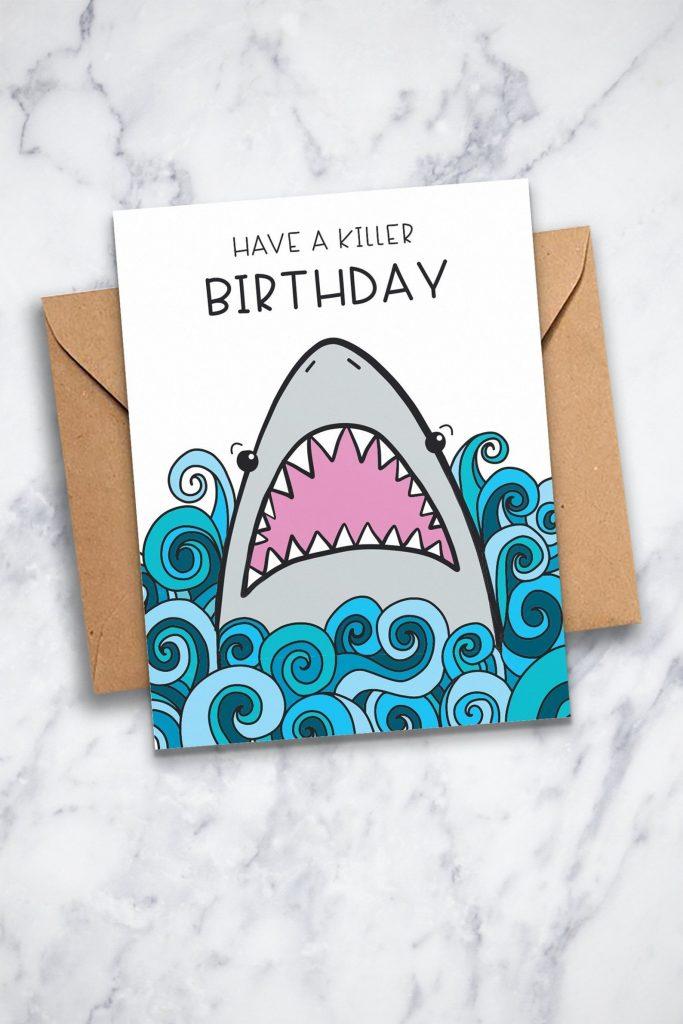 fun shark birthday card printable shark card for kids